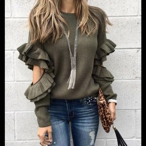 BP olive ruffle sleeve with elbow cut out sweater